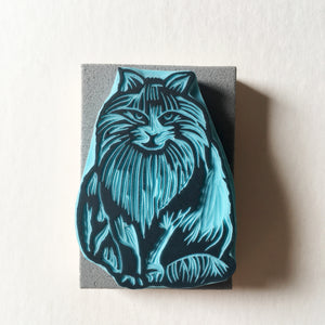 Cat Stamp, Hand Carved Rubber Stamp of a Hairy Cat, CassaStamps