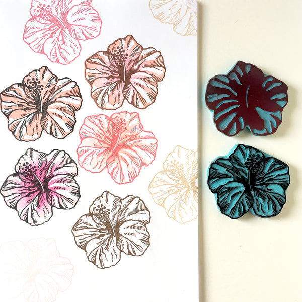 Hibiscus rubber stamp, set of 2 stamps