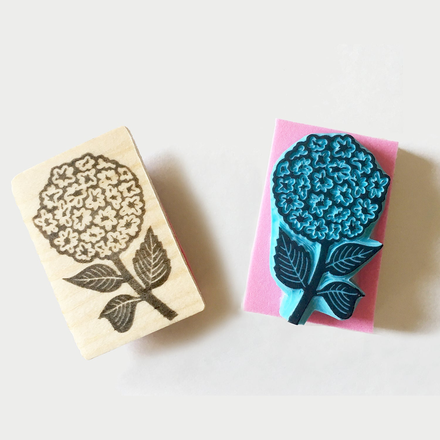 Hydrangea Flower hand carved rubber stamp