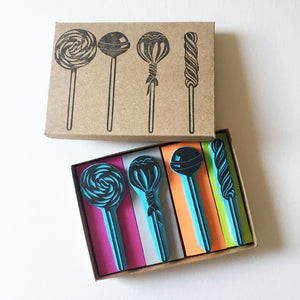 Lollipop rubber stamps, hand carved stamps by Cassastamps