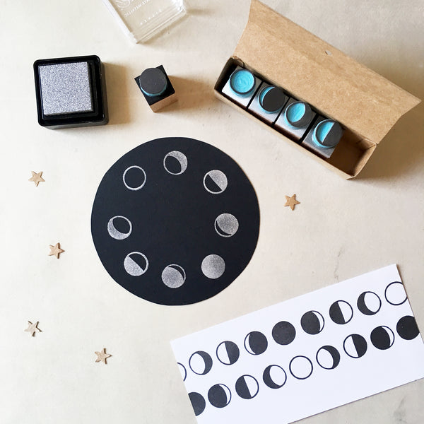 Phases of the moon rubber stamps, set of 5 mini stamps