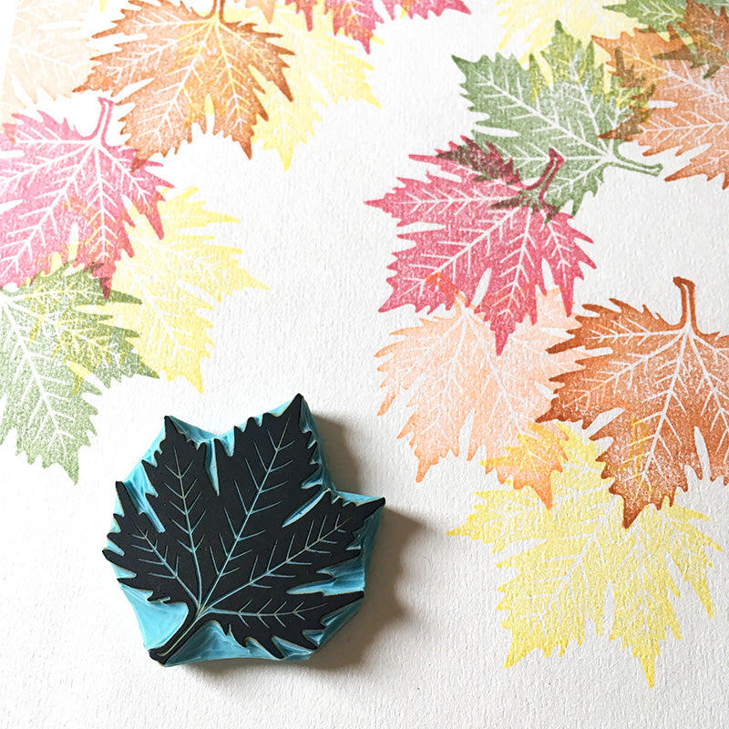Leaf Rubber Stamp, Autumn Decor, Fall Season Stamp, Maple Leaf