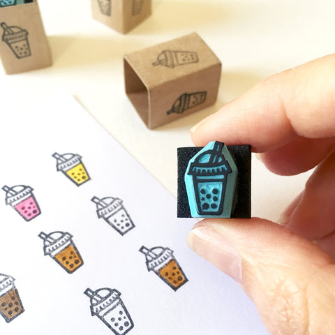 Mini bubble tea rubber stamp