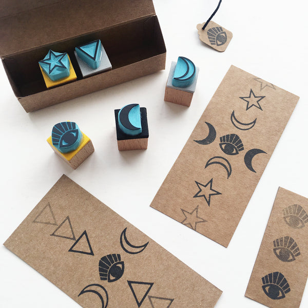 Mystical mini rubber stamp set of crescent moon, sacred eye, feminine divinity triangle