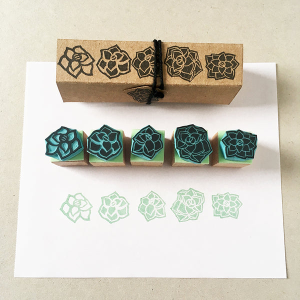 Succulent plants rubber stamps, set of 5 mini stamps