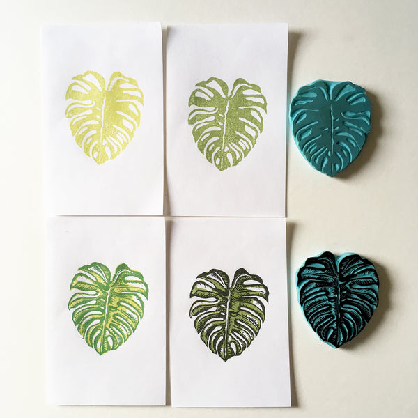Monstera plant Rubber stamp. Hand carved stamp.
