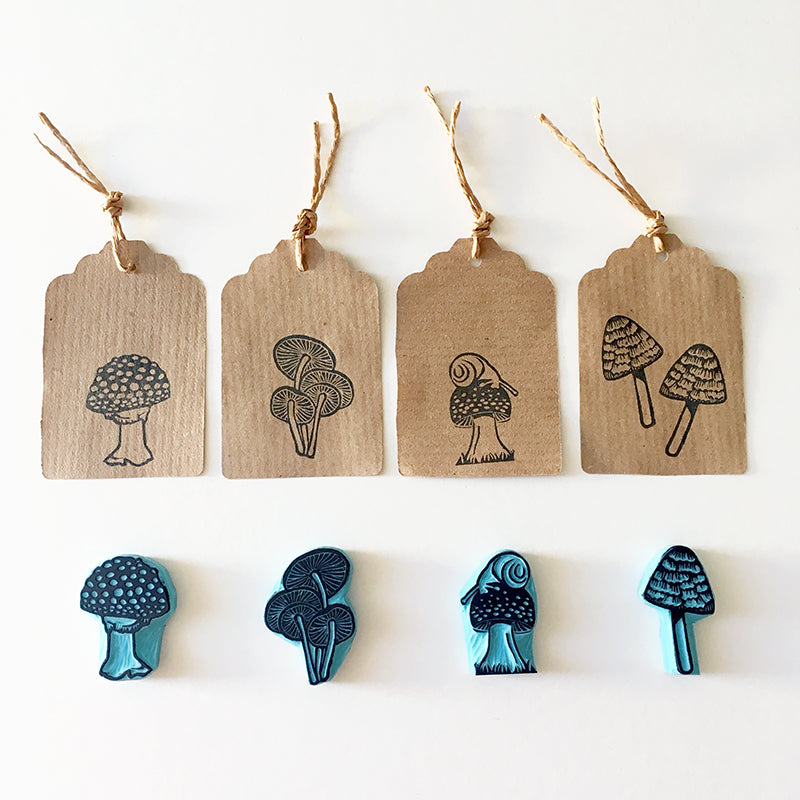 Autumn Rubber Stamps of Mushrooms, assortment of 4 hand crafted mushroom stamps