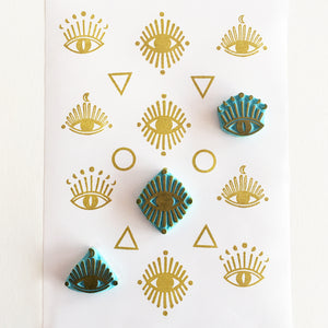 Mystic Eye rubber stamps, hand carved stamps of cosmic boho style eyes
