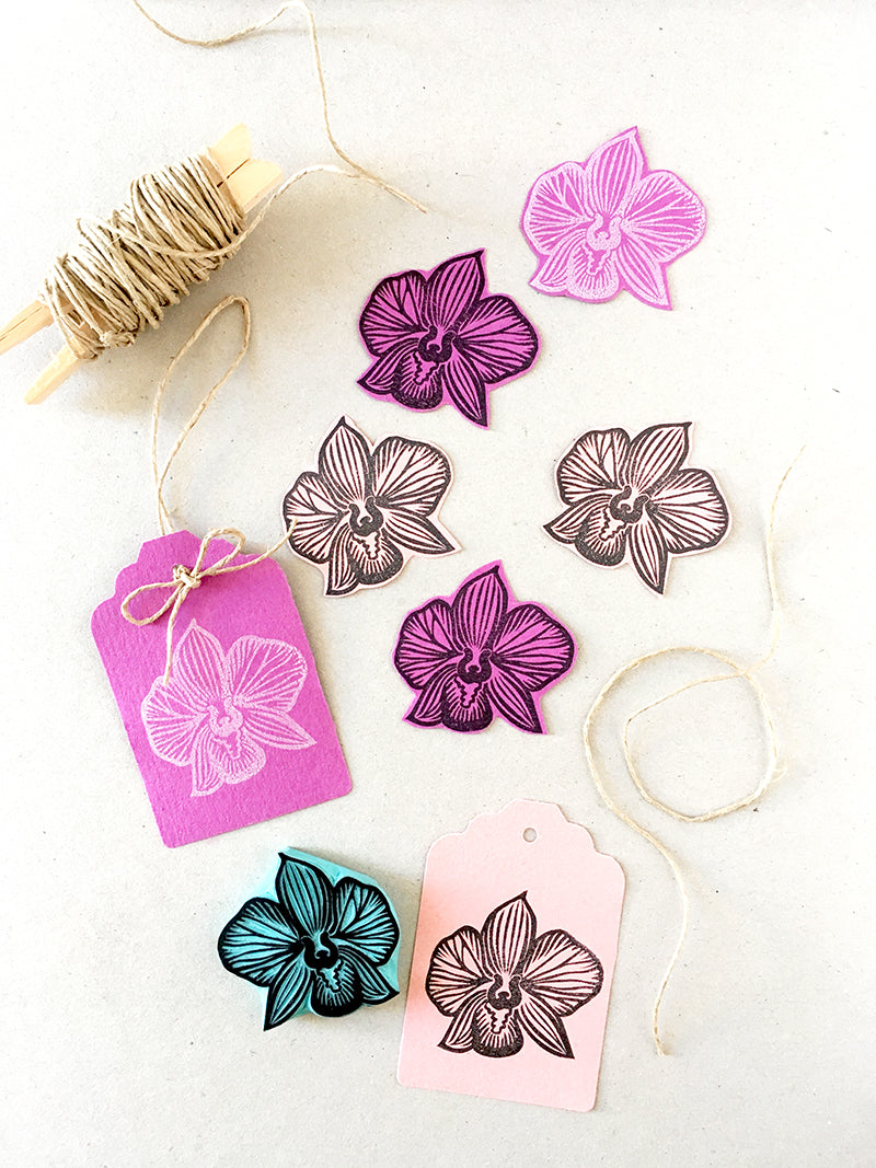 Orchid rubber stamp, hand carved flower stamp, wedding invitation idea
