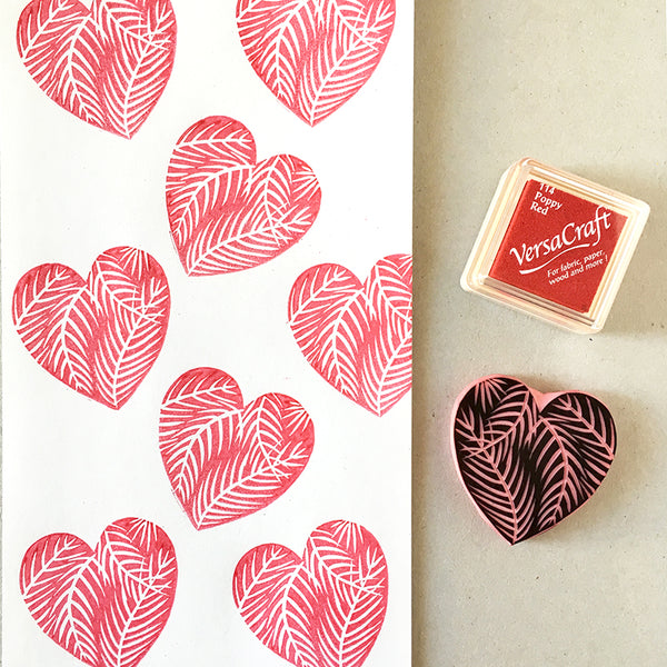 Tropical heart rubber stamp, hand carved heart stamp with palm leaves by Cassastamps