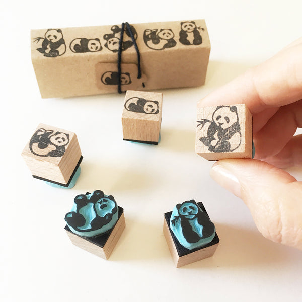 Panda Bear set of 5 mini rubber stamps