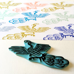Chinese Peacock Hand Carved Rubber Stamp, handmade by CassaStamps