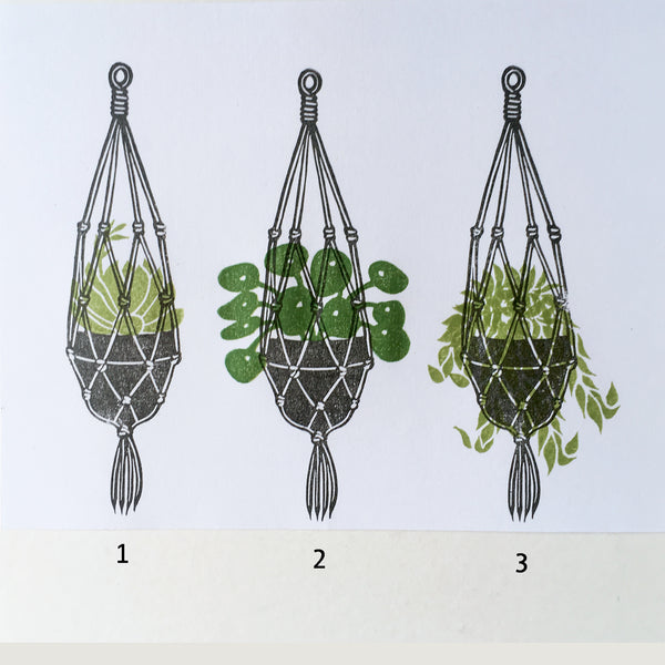 Macrame plant hanger with 3 plants rubber stamps. Hand carved stamps.