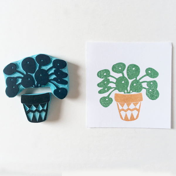 Plant pot with plants mix and match rubber stamps.