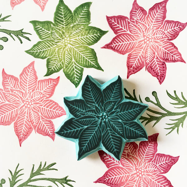 Ponsettia Flower and twig rubber stamps for Christmas stamping
