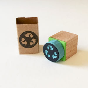 Recycle Symbol Mini Rubber Stamp, Hand Carved Stamp, Mini Eco Icon Stamp.