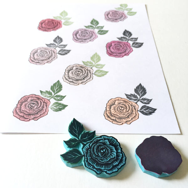 Rose flower rubber stamp, hand carved