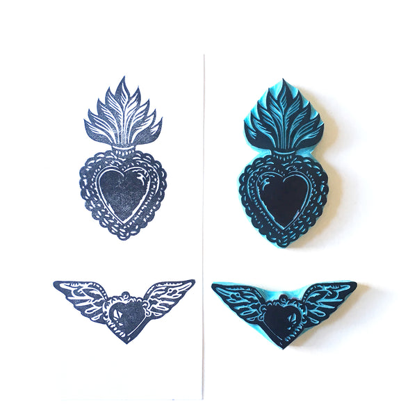 Mexican Sacred Hearts hand carved rubber stamps by CassaStamps