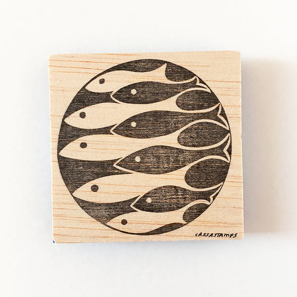 Sardines rubber stamp, School of fish stamp, fish pattern, hand carved stamp