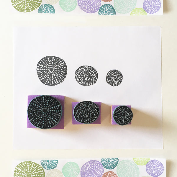 Sea Urchin Shell Rubber Stamps, Hand Carved Sea Shell Stamps