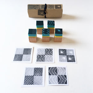 Set of 5 rubber stamps of lines