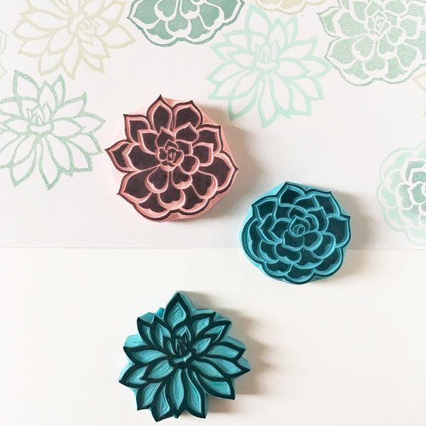 Succulent Plants Rubber Stamps, Set of 3 Stamps, Small and Medium Sizes