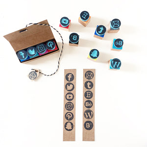 Social Media icons, rubber stamps of social media for business cards