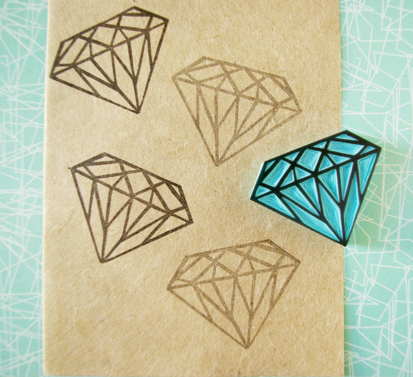 Diamond Rubber Stamp, Hand Carved Rubber Stamp, Wedding DIY Idea