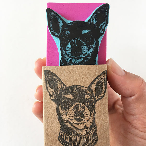 Custom hand carved pet portrait rubber stamp