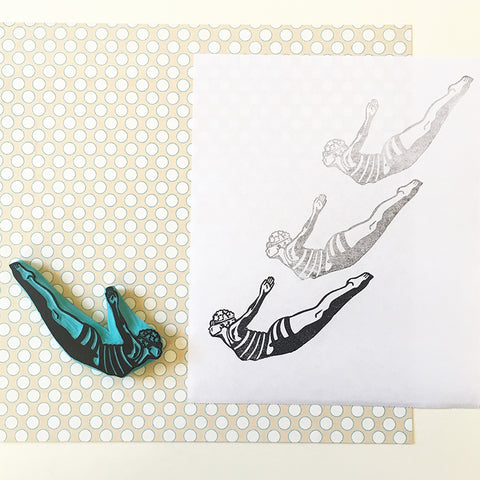 Vintage Swimmer Hand Carved Rubber Stamp
