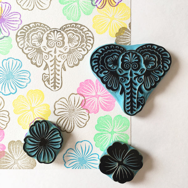 Elephant rubber stamp with flowers, Thai Elephant design hand carved rubber stamp
