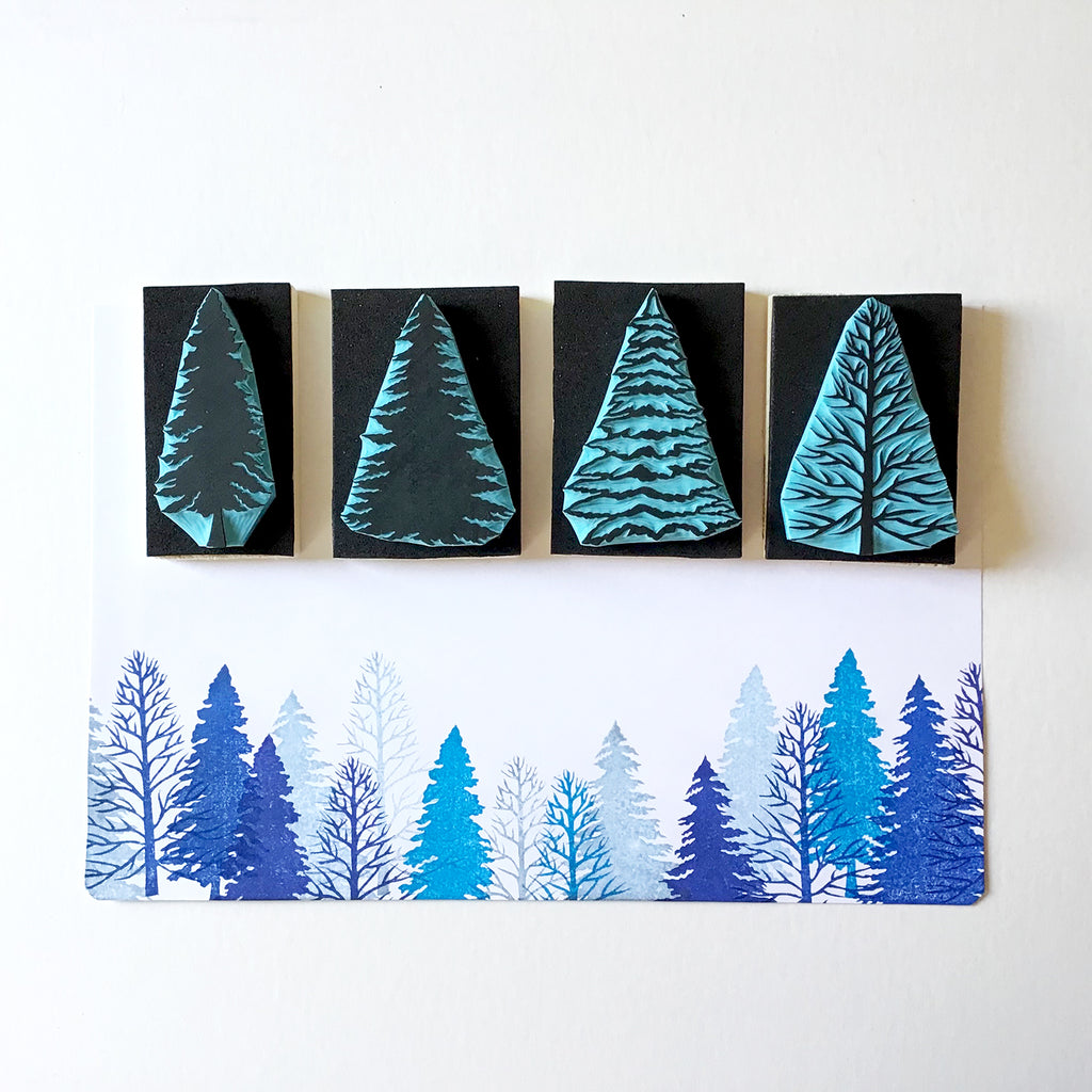 Pine Tree Rubber Stamps, Hand Carved Stamps, DIY Christmas ...
