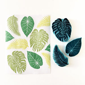 Tropical leaves rubber stamp, set of 3 hand carved stamps