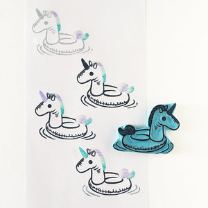 Unicorn Pool Float Hand Carved Rubber Stamp