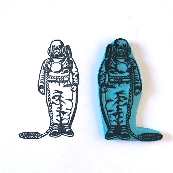 Vintage Diver Hand Carved Rubber Stamp, People Stamp