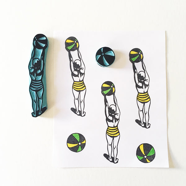 Vintage Swimmer with beach ball hand carved rubber stamp