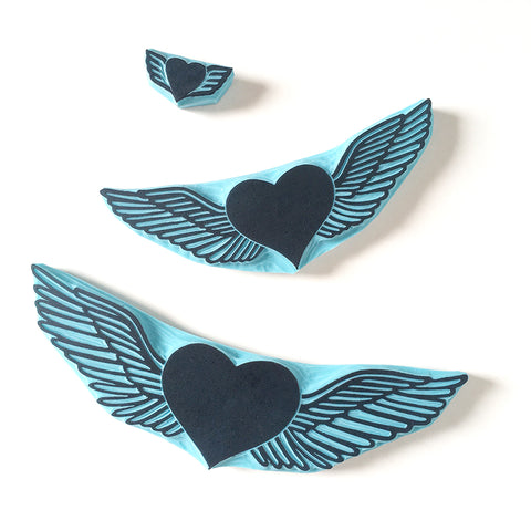 Winged heart hand carved rubber stamps, 3 sizes available