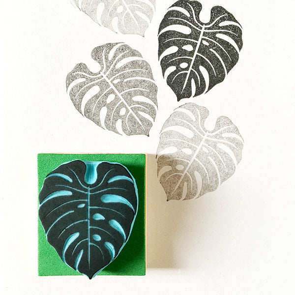 Monstera Rubber Stamp, tropical carved rubber stamp, Young Monstera