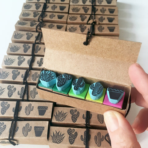 Set of 5 mini cactus rubber stamps with box, Tropical stamping