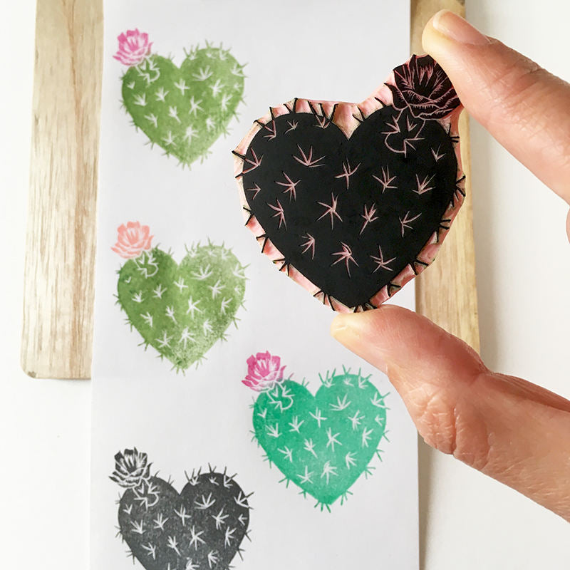 Cactus Heart, rubber stamp, hand carved, valentines