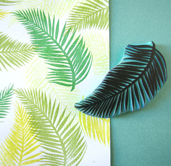 Palm Tree Leaf, Rubber Stamp, Tropical Stamp, Hand Carved, Summer decor, Palm Beach, tropical