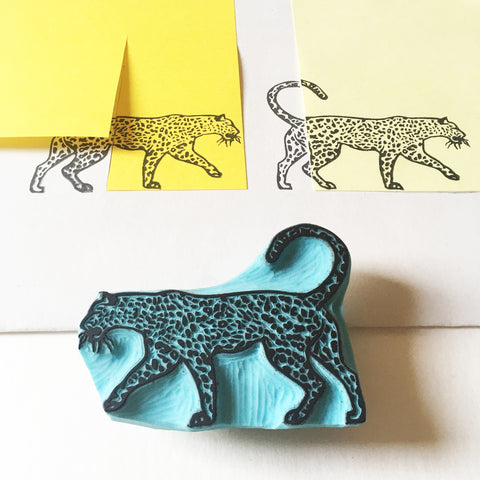 Leopard Hand carved rubber stamp made by Cassastamps