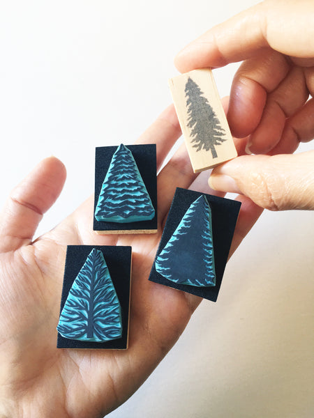 Pine Tree Rubber Stamps, Hand Carved Stamps, DIY Christmas Cards