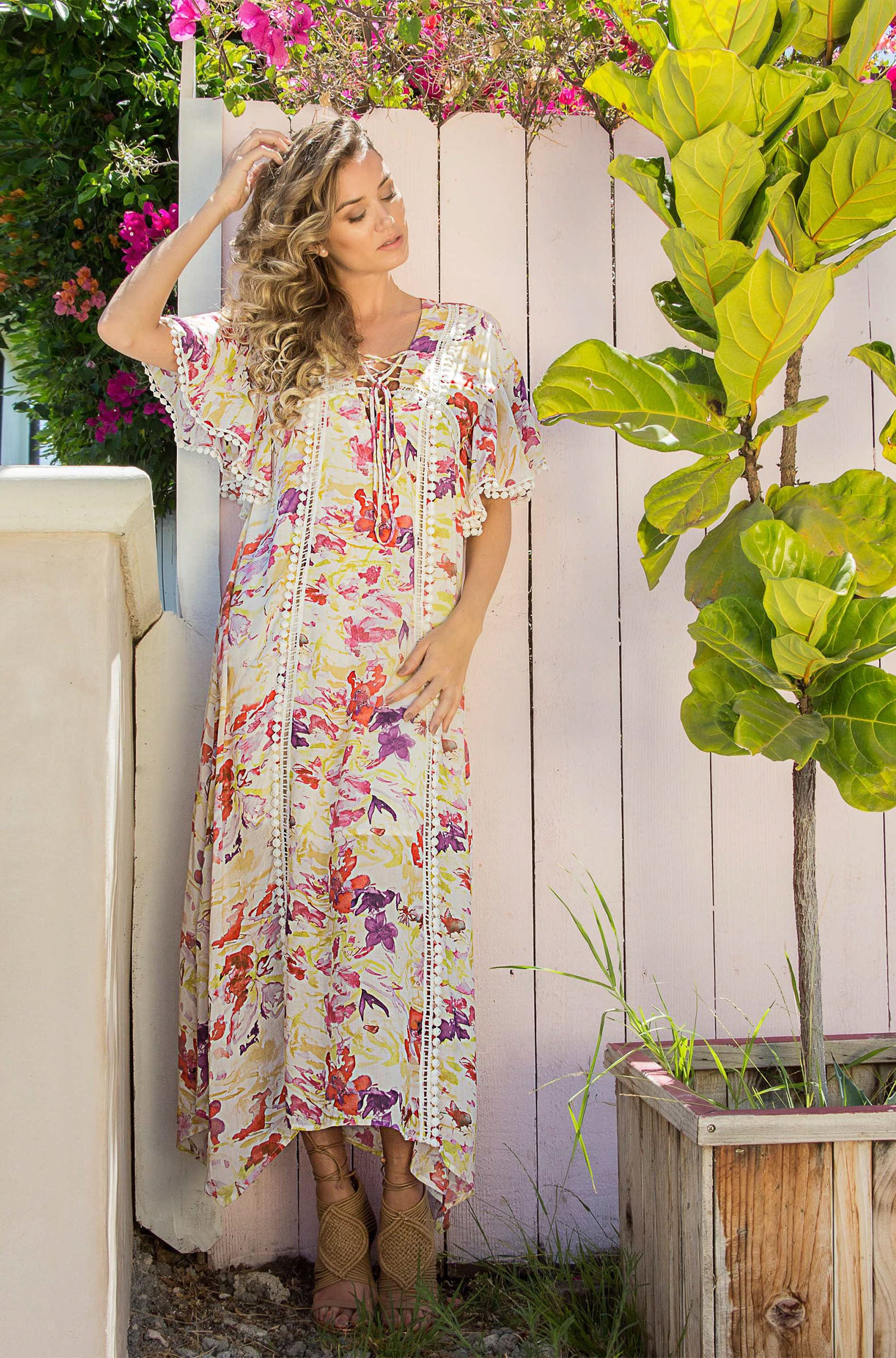 Oversized Bell Sleeve Floral Maxi Dress