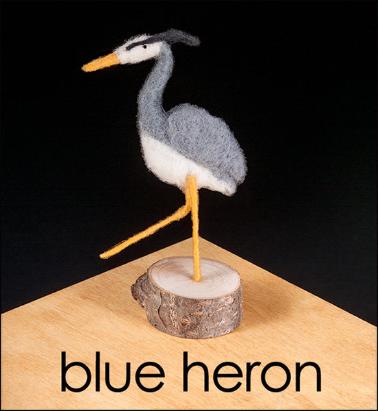 Woolpets finished blue heron stamp