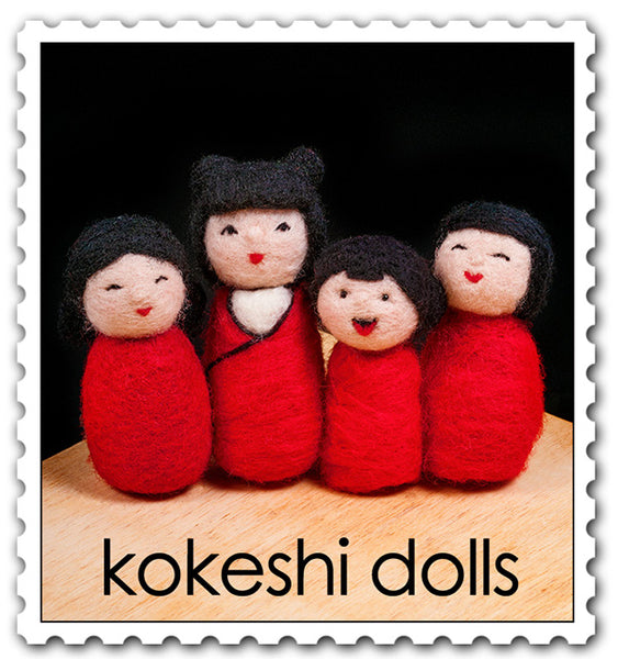 Kokeshi Dolls Needle Felting Kit