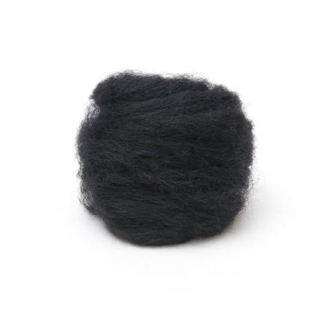 1 oz. Black Wool Roving