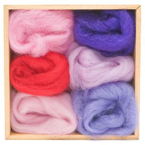 Fuchsia Wool Roving Color Pack