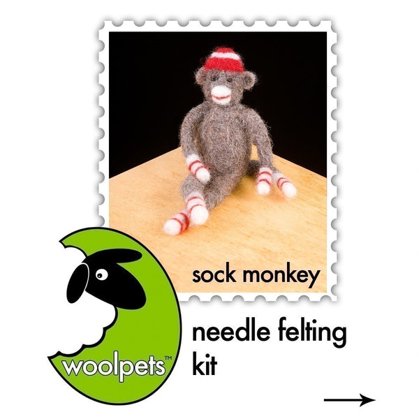 Sock Monkey Needle Felting Kit