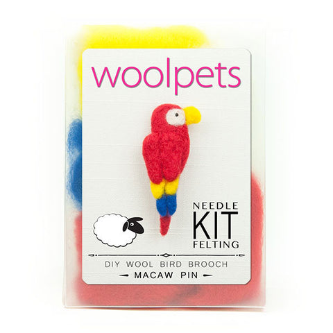 Woolpets Macaw felting kit packaging